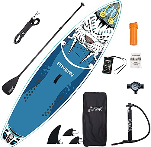 FAYEAN Inflatable Stand Up Paddle Board 10.5' x 33''x 6'' Thick Round Board Includes Pump, Paddle, Backpack, Coil Leash Waterproof Case Tiger (Blue)