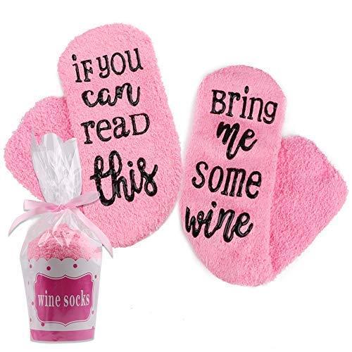 """Hootracker Luxuriöse Wein-Socken mit Muffin-Geschenk-Verpackung Weinliebhaber, If You can Read This Bring me Wine"""" - Lustiges Wein-Zubehör für Frauen(Wine,pink)"""
