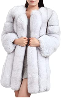 Faux Fur Coat Holiday New Years Party Winter Coat Lush Furry USA Made Olympia Fluffy White Gray Long Fur Unisex Plus Size 54 chest