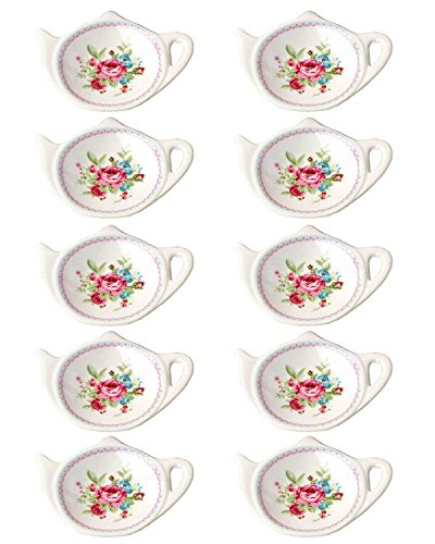 RockTrend Vintage Rose White Porcelain Ceramic Teapot-Shaped Tea Bag Holder Tea Bag Coasters Spoon Rests Classic Tea Saucer Seasoning Dish with Flower Trim Gold Rim Flower B 10 PCS