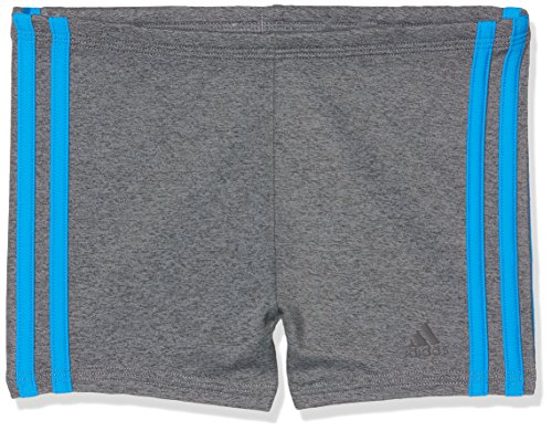 adidas Jungen Fitness Boxer 3-Streifen Melange Badehose, Grey Five/Bright Blue, 176
