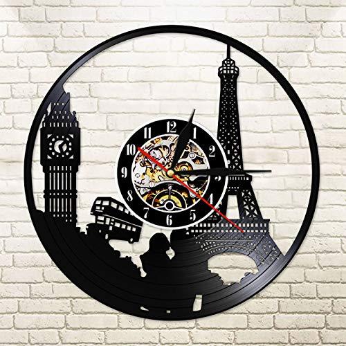 YINU Big Ben Tower Cut Longplay Reloj de Pared París Londres Travel Landmark Luz Led Reloj de Disco de Vinilo Diseño Vintage