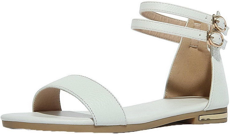 AmoonyFashion Women's Buckle Pu Solid Open Toe Sandals, BUSLS004739