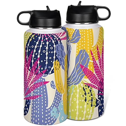 Cactus Botella de agua de acero inoxidable aislado con tapa popote simple para deporte blanco 1000ml (32 oz)