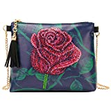 Bolsa cruzada con cadena para pintar con diamantes 5D, bolsa de mano con cierre de borla de cristal, bolso de mano de cuero con diamantes de imitación d