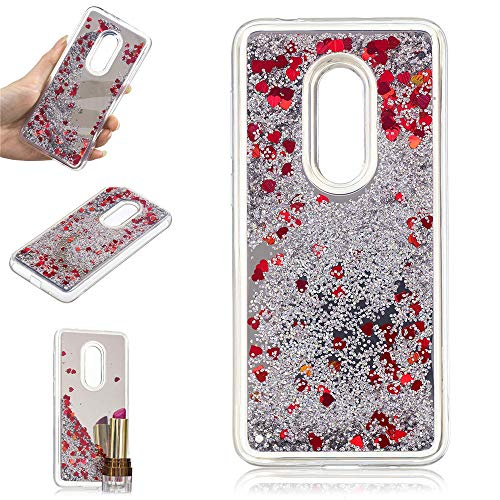 BestCatgift Alcatel1X Custodias [Mirror & Quicksand] Shockproof Glitter Bling Flowing Liquid Floating Rubber Love Heart Cover per Alcatel 1X/5059 - Silver