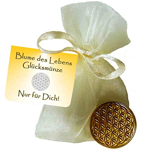 EnerChrom Blume des Lebens Glücksmünze Nur für Dich - 1 Stück Farbe Gold - Glücksbringer Lebensblume Talisman Münze