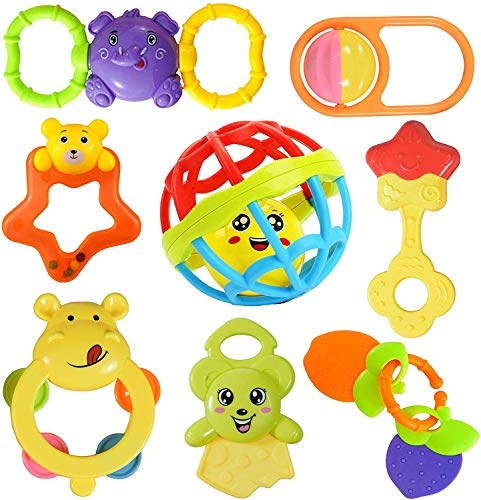 Brand Conquer Colourful Plastic Non Toxic Set of 8 Attractive Rattle for New Borns