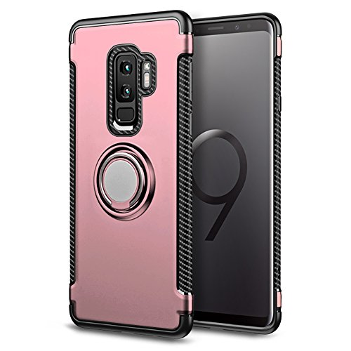 Samsung Galaxy S9 Case, BiBiDs 2 in 1 TPU+PC Double Protection Case Shockproof Cover with 360 Degree Rotating Ring for Samsung Galaxy S9 (Rose Gold)