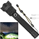 Rechargeable Led Flashlight, 90000 Lumens Super Bright Flashlights High Lumens Powerful Tactical Flashlight with Batteries Included, Zoomable, 3 Modes, Waterproof Flashlight for Emergencies, Camping