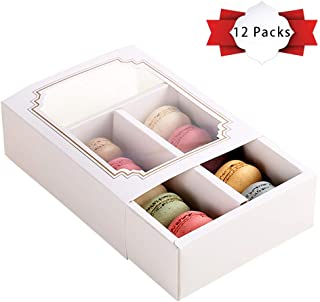 PACKFAN 12 Packs Macaron Boxes for 10 Packs Standard Macarons, Packing Boxes for Dessert, Pastries Mother's Day & Easter Gifts Containers, Cookie or Candies Carriers with Clear Window