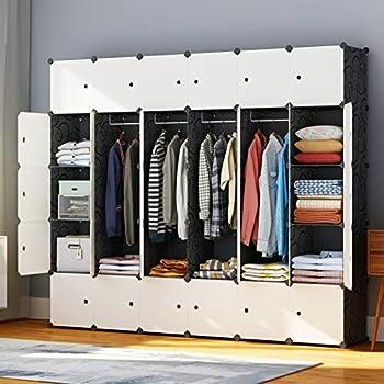 JYYG Portable Wardrobe Closets 14 x18  Depth Bedroom Armoire Clothes Storage Organizer 30 Cubes Black