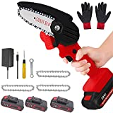 Mini chainsaw cordless Handheld Portable Chainsaw with 3Pcs Batteries and Chain anti splash board One-Hand 0.7kg Lightweight Pruning Shears Chainsaw for Garden Tree Branch Wood Cutting and ,red