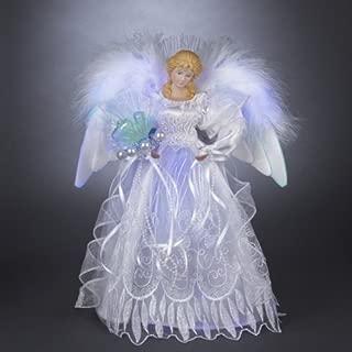 lighted angel tree topper white