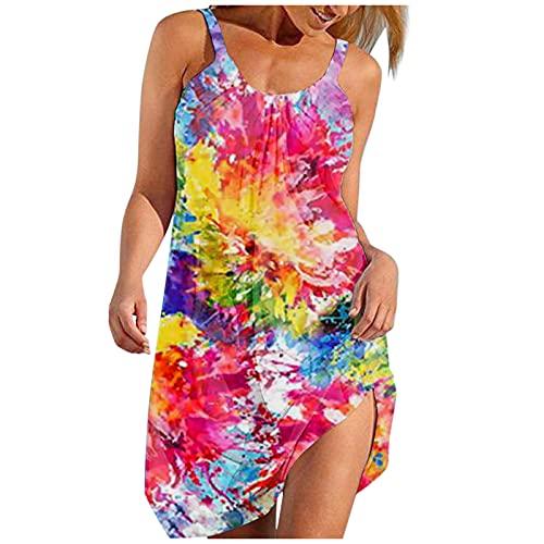 Dasongff Robe d'été pour femme - Manches courtes - Col rond - Imprimé ligne A - Décontractée - Robe de plage - Style bohème - Longueur genou.