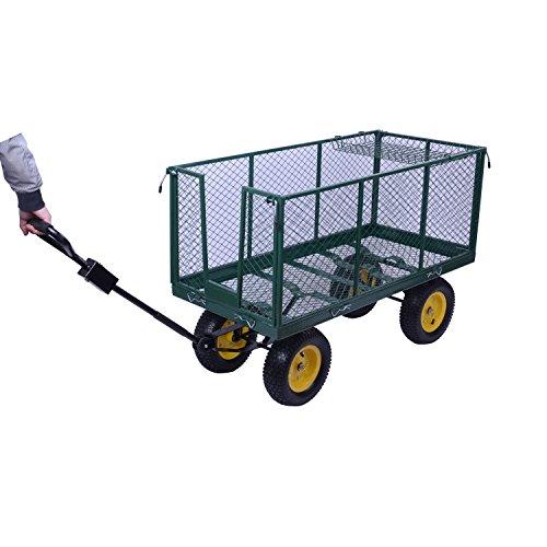HOMCOM Large 4 Wheel Heavy Duty Garden Cart Truck Trolley Wheelbarrow...