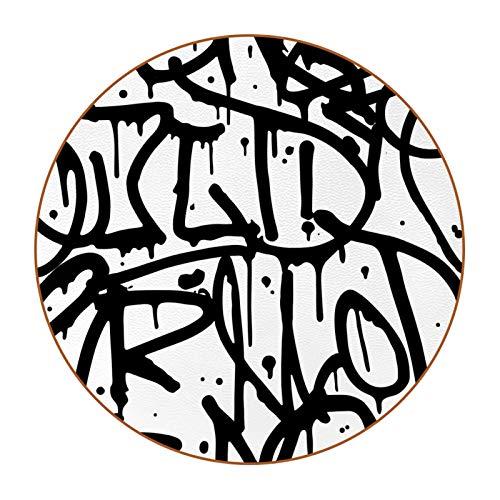 Getränkeuntersetzer im Retro-Stil, hitzebeständig, rutschfest, für Kaffee, Tee, Bier, Weinglas, Zuhause und Bar, Graffiti-Buchstabe, Schwarz / Weiß, 6 Stück