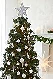 HEITMANN DECO 50er Set Christbaumkugeln Christbaumschmuck mit Stern Spitze - Kunststoff Weihnachtsschmuck Weiß Silber zum Aufhängen - 6