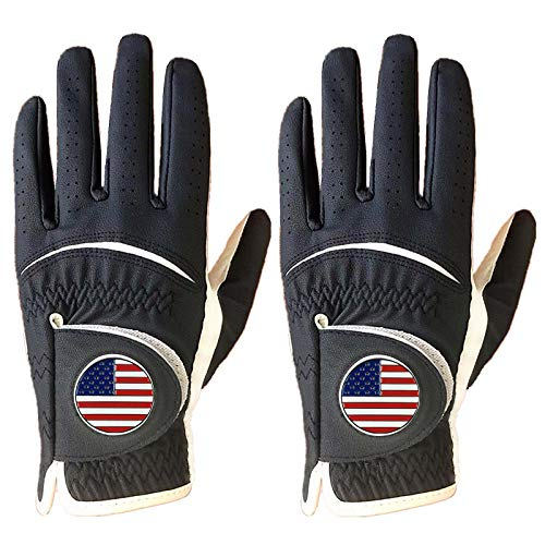 Golf Gloves Men Left Hand with Ball Marker Leather USA Flag 2 Pack Premium Weathersof Grip Soft Size Small Medium ML Large XL(Blue,ML-Worn on Left Hand)