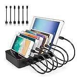 YOJA Ladestation Mehrere Geräte 6 Port USB Multi Ladestation Handy Tablet USB Ladegerät...