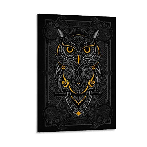 zhanlin Steampunk Owl Canvas Art Poster and Wall Art Picture Print Modern Family Bedroom Decor Posters 16x24inch(40x60cm)