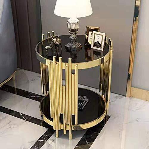 Mesa de centro Lado del vidrio templado, sofá de la esquina chapado en oro, mesa de café unas pequeñas ideas de jardín, moderna mesa de café pequeño minimalista pequeña mesa redonda Tablas de café peq