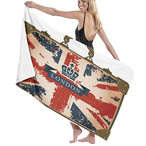 Large Soft Lightweight Bath Towel Blanket,Vintage Travel Suitcase With British Flag London Ribbon And Crown Image,Bath Sheet Beach Towel for Family Hotel Travel Swimming Sports Home Decor,52' x 32'