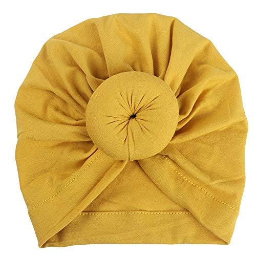 Baby Tulband Peuter Kids Boy Girl India Hat Lovely Soft Cotton Cap Candy Solid pasgeboren fotografie props Spring Child Beanie (Color : Yellow)