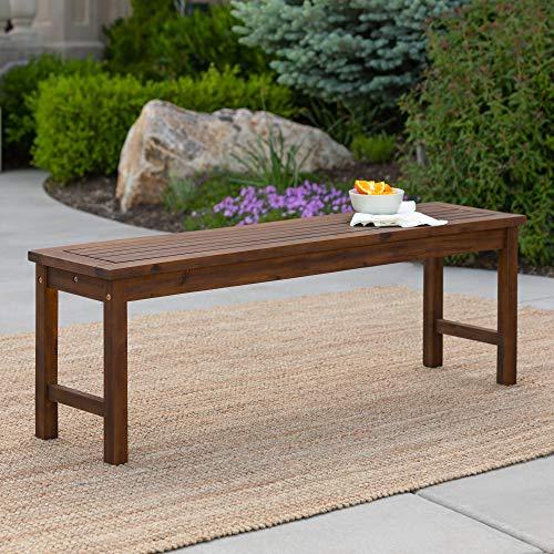 Walker Edison Rendezvous Modern Solid Acacia Wood Slatted Patio Bench, 53 Inch, Dark Brown