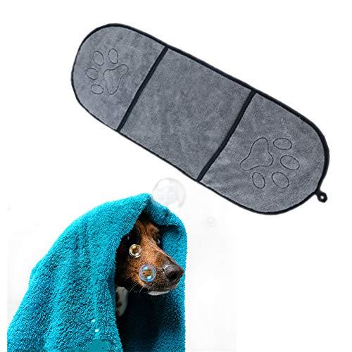 HEELPPO Toallas De Secado RáPido BañO para Perros Toalla De BañO para Mascotas con Bolsillos para Las Manos Toalla para Mascotas Absorbente para Perros Y Gatos Gray