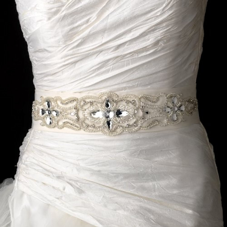 Amazing Beaded, Rhinestones and Peal Wedding Bridal Sash Belt  Ivory