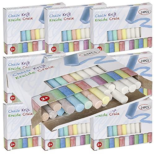 Trendyshop365 Straßen-Malkreide für Kinder ab 2 Jahre 24-teilig Bunte Kinderkreide in 7 Farben (10er Pack - 240x Kreide)