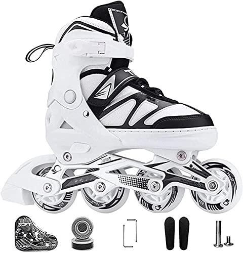 Kinder Herren Damen Inliner Inlineskates ABEC-7 Chrome Kugellager Einstellbare Unisex Fitness Skates für Erwachsene Anfänger mädchen Jungen XL(42-45) Weiß