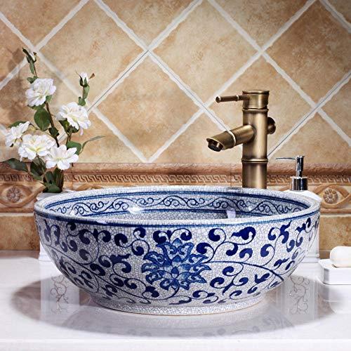 DWSS® Waschbecken Hand bemalt blau und weiß Porzellan Waschbecken