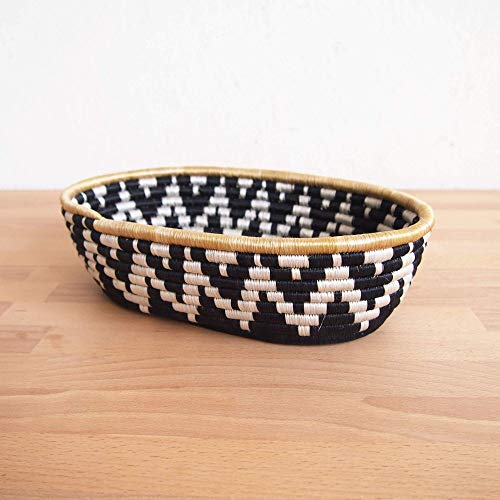 African Bread Basket- Chwele/Sisal and Sweetgrass/Woven Basket/Made in Rwanda/Black, White, Gold