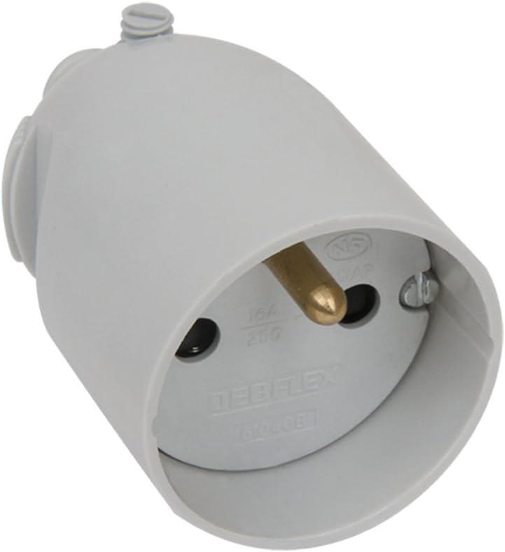 Debflex 713390 Fiche femelle 2P+T 16A-Sortie Droite-/À Coiffe-Noir