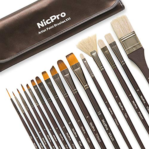 Nicpro Professional Paint Brushes for Acrylic Watercolor Oil Gouache Painting 16 PCS Art Brush Comb Long Handle Taklon & Hog Hair Round Filbert Angel Flat Brush with Carrying Travel Bag