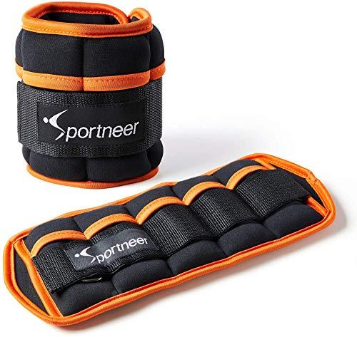 Sportneer Gewichtsmanschetten, Verstellbares Fußgelenkgewichte Set, Fuß-/Handgelenkgewicht Manschetten, 1 Pfund bis 10 Pfund (0.45Kg bis 4.53 kg), 2er Packung (Schwarz & Braun)
