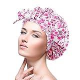 Duschhaube für Frauen, wasserdichte wiederverwendbare Duschhauben groß für langes Haar,...