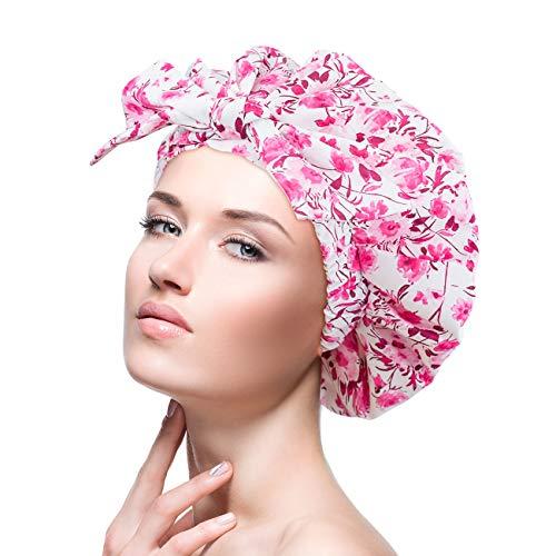 Gorra de ducha femenina, impermeable, reutilizable, especialmente grande, para cabello largo, capaz de ajustar la mayoría de los tamaños de la cabeza (1)