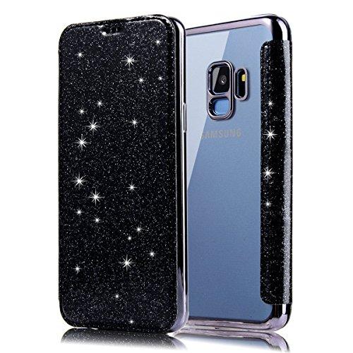 Ysimee Compatible avec Coque Samsung Galaxy S9 Glitter Bling Étui en Cuir PU Portefeuille Flip Case Fermeture Aimantée Wallet Pouch Protection Housse avec Carte de Crédit et Fonction Support,Noir