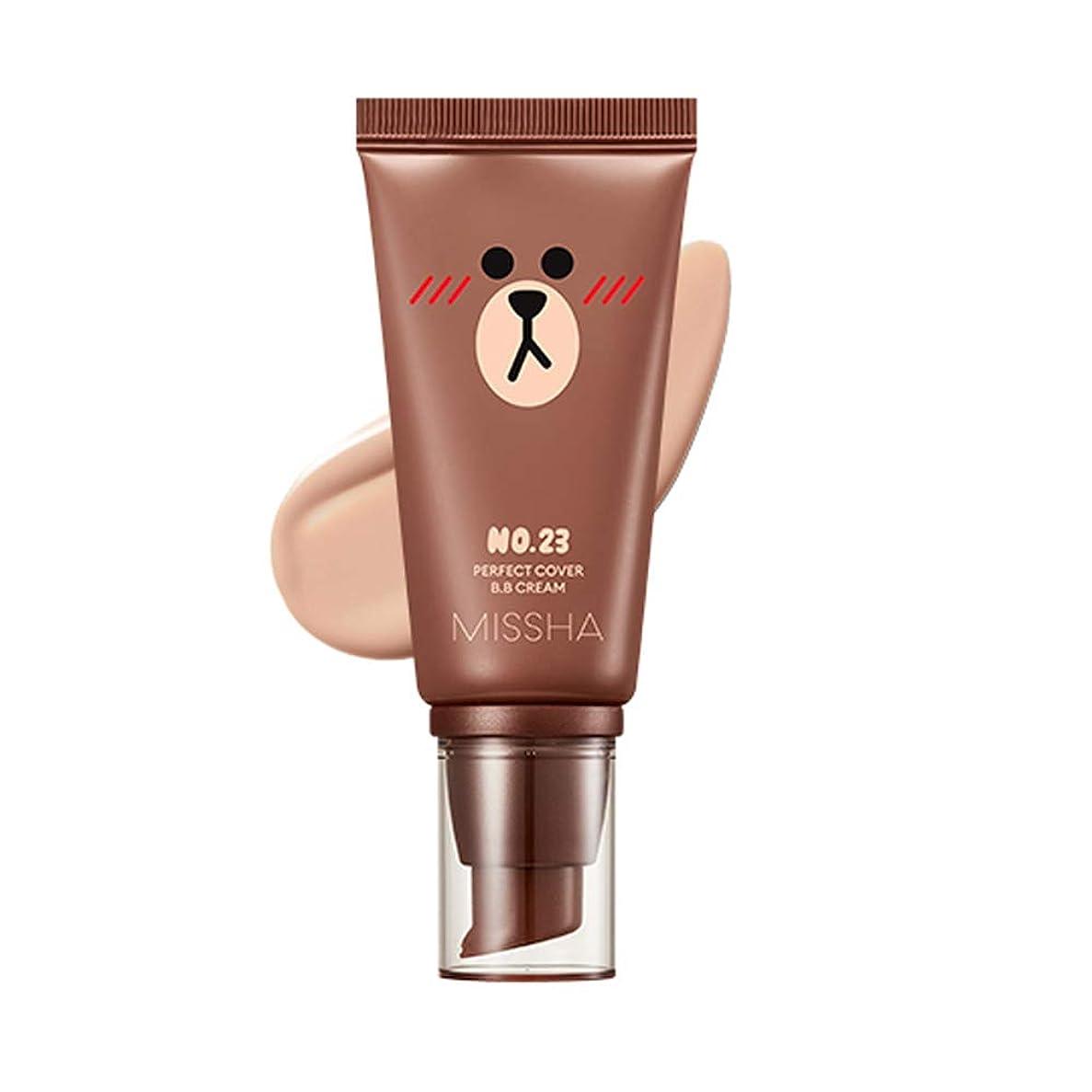 背景ワゴンストレスの多いMissha M Perfect Cover BB Cream SPF42 PA+++ [Line Friends Edition] ミシャ(ラインフレンズ)MパーフェクトカバーB.Bクリーム (#23 Natural Beige) [並行輸入品]