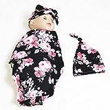 Hooyax Newborn Swaddle Blanket Beanie Hat Set Including Black Pink Flower Print Receiving Blankets & Beanie Hat for Baby Gift (0-3 Month Baby)