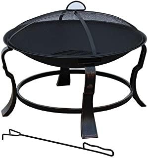 Hampton Bay 24 in. Ashmore Round Durable Solid Steel Construction with Antique Bronze Finish Steel Fire Pit