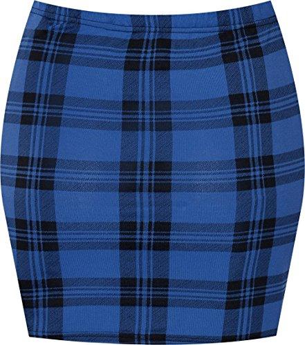 Espania Trading Damen Minirock, Stretch, figurbetont, elastisch, Jersey, kurz, Gr. 34-40 Gr. 36, Blue Tartan