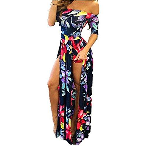 Xinan Kleider Damen Overall Short Hose Playsuit Long Dress (M, Dunkelblau)