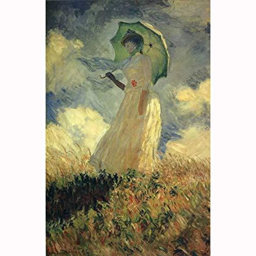 Chongya Rompecabezas para 1000 Piezas Monet Mujer con sombrilla Rompecabezas de Ilustraciones para Adultos (Size : 500 Piece)