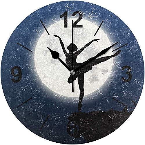 L.Fenn wandklok rond ballerina silhouet maan dans diameter silent decoratief voor thuis kantoor keuken slaapkamer