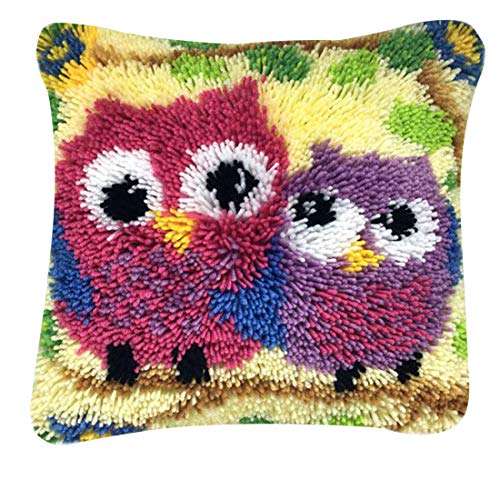 K9CK Kit de Crochet Tejer, Crochet Tejido De Punto Amortiguar Alfombra de Ganchillo Funda de Almohada Kit Bordado para Principiantes Adulto Niños - Búho