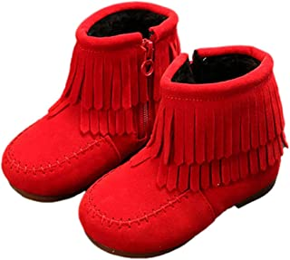 Hopscotch Baby Girls PU Moc Style Fringed Boots in Red Color